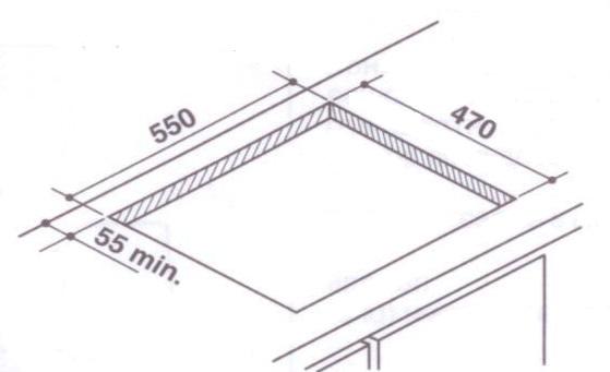 Разметка для установки варочной панели