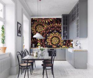фотообои для кухни с цветами