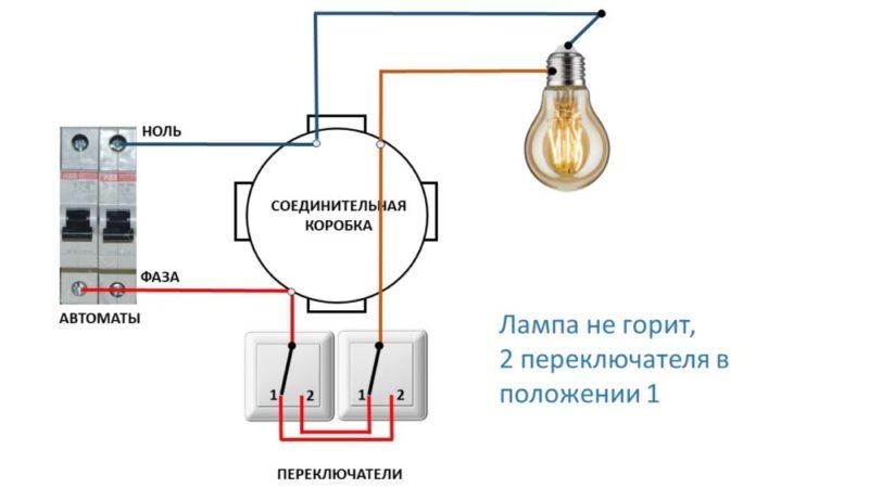 Установка проходного одноклавишного выключателя